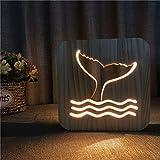 DC Wesley Nachtlicht aus Holz, niedlicher Walschwanz, 3D-hohl, USB, kreativ, dekorativ, für Schlafzimmer, Kinderzimmer, Geburtstag, 19 x 19 cm