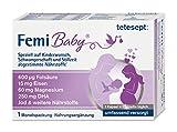 tetesept Femi Baby - 16 Nährstoffe für Kinderwunsch, Schwangerschaft & Stillzeit - Vitamine & Mineralstoffe wie Folsäure, Eisen, Magnesium, Jod + DHA - 1 x Monatspackung à 30 Tabletten + 30 Kap