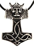 Kiss of Leather Thorshammer mit Totenkopf aus Edelstahl mit Baumwollband