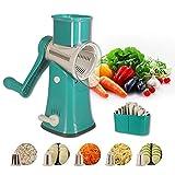 Flexsto Käsereibe Gemüsehobel, Reibe effizienter Gemüsehobel mit 5 austauschbaren runden Edelstahlklingen, leicht zu reinigen, rotierende Käsereibe für Obst, Gemüse, Nüsse (grün)