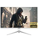 LYRONG 68.58 cm (27 Zoll) LED Monitor, Business Monitor (Full HD 1920x1080 IPS, 144Hz Gaming Monitor, Eye-Care, neigbar, HDMI, DP, USB, 1ms Reaktionszeit),White