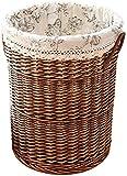 DNSJB Wäschekorb, Wäschekorb, Rattan-Aufbewahrungsbox, Weidengeflecht, gestrickt, praktischer Aufbewahrungskorb mit Abdeckung