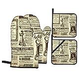 4Pcs Ofenhandschuhe und Topflappen Set,Vintage Newspapers Historisches Monster Wordpress,Hitzebeständige Küchenhandschuhe zum Kochen,Backen,Grillen,Grillen