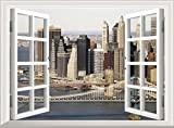 New York 3D Window View Scenery Wall Sticker Removable Poster Vinyl Manhattan Brooklyn Bridge Wall Decal Wall Mural Wallpaper Decor Art Wohnzimmer Schlafzimmer (60 x 45 cm)