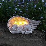 Festive Lights Geschmackvoll und liebevoll gestalteter Gedenkstein mit solarbetriebener LED Beleuchtung – inkl. Akkus, integrierten Solarpaneelen und Dämmerungsschalter, (Engelsflügel mit Hund)
