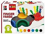 Marabu 0303000000085 - Kids Fingerfarbe Set mit 6 leuchtenden Farben á 35 ml, parabenfrei, vegan, laktosefrei, glutenfrei, geeignet zum Malen in Kindergarten, Schule, Therapie und zu Hause