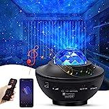 solawill LED Projektor Sternenhimmel Lampe, LED Sternenlicht Projektor mit Fernbedienung/Bluetooth/Timer Kinder Nachtlicht Ozeanwellenprojektor Musikspieler für Party Weihnachten Ostern Halloween