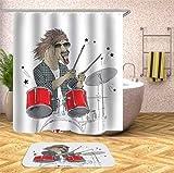 Tierdruck Zebra AFFE wasserdicht Duschvorhang Haushalt Badezimmer Vorhang Stoff Polyester Stoff S.10 150x200cm