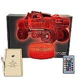 LKW 3D Illusion LED Tischlampe Wagon Form Dekor Nachtlicht mit Grußkarte 16 Farben wechseln, Fernbedienung, lustige Schlafzimmer-Dekorationen Geschenke für Männer, Frauen, Kinder, Jungen