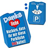 Parklücke freihalten Parkscheibe mit Botschaft an die Nachbarn Variante 2 mit 2 Einkaufswagenchips EIN lustiger Hinweis an die Nachbarschaft