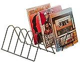Schallplattenständer | Aufbewahrung für 75 LPs | Prospekthalter | Matt Schwarz Metall | Schallplatten Halter Ständer Zeitschriften Bücher | Schallplatten Deko Vinyl Regal