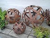 terracotta-toepfe-de 3er-Set, je Kugel 20 + 30 +40 cm aus Metall Edelrost/Deko Garten/Rost Streifenbandkugel Eisen S
