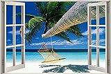 Diuangfoong 3D-Effekt Fensterblick Strand Palme Hängematte Aufkleber Wandposter 130 x 90 cm