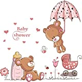WandSticker4U®- Wandtattoo BABY BÄR IN ROSA I I Wandbilder: 100x60 cm I Wandsticker Babyzimmer Mädchen Sweet Dreams Tiere Aufkleber Junge Blumen I Wand Deko fü