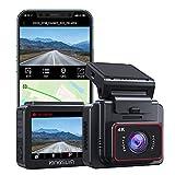 Kingslim 4K Dashcam mit WiFi GPS,2 Zoll IPS Touchscreen,G-Sensor Autokamera,Notfallaufzeichnung,Zeitraffervideo,Super Nachtsicht,170° Weitwinkelobjektiv,Unterstützung 256GB Speichereiterung D5