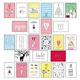 25 handgemachte Weihnachtskarten Teil 2: Hochwertiges Weihnachts-Postkarten-Set mit wunderschönen, detailverliebten und von Hand designten ... ... weihnachtlichen Sprüchen und Zitaten