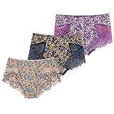 Bikinis Taillenslips 3 Pack Damen Unterwäsche Sexy Lace Stretch Brief Schlüpfer Frauen Full Brief  Transparente Unterwäsche Mit Blumenunterwäsche, 4 Farben (Color : C, Size : X-Large)