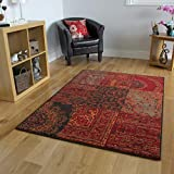 The Rug House Milan Traditioneller Teppich mit Patchwork-Muster für das Wohnzimmer in Rot-, Braun-, Grau- und Orangefarbtönen 120cm x 170