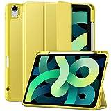 Maledan Hülle für iPad Air 2020 / iPad Air 4 Hülle, Schutzhülle für iPad 10.9 Zoll 2020, Premium PU Leder Soft TPU Rückseite Folio Case Cover [Auto Schlaf/Weckfunktion] - Gelb