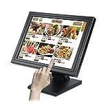 Kassenmonitor - 15Zoll Multi-Touch Monitor,Registrierkasse Touchscreen Monitor,USB POS LCD Monitor für Kassensystem mit Stand 1024 x 768 Auflösung, VG
