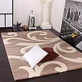 Paco Home Designer Teppich mit Konturenschnitt Modern Beige Creme, Grösse:160x230 cm