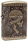 Zippo Logo Feuerzeug, Chrom, Armor Antique Brass (Skull Multi Cut), 6 x 4 x 2 cm