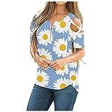 iHENGH Damen Casual V-Ausschnitt Schulterfrei Kurzarm Lose Blumendruck T-Shirt Top(Hellblau, 2XL)