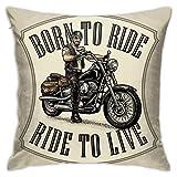 Kissenbezüge Kissenbezüge Dekoration Rinde Mann im Motorrad Helm und Brille Fahren EIN klassisches Chopper Bike auf dem Schlafsofa Bett 45X45 cm