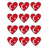 Generisch 12 Stück Aufkleber Türkei Herz | wetterfest & UV Schutz | Set Türkiy