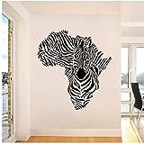 WYLYSD Zebra In Afrika Karte Wandaufkleber Home Decor Wandtattoo Kreative Zebramuster Wandbild Für Wohnzimmer 80X87Cm