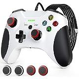 Wired Controller für Xbox One,JORREP USB Kabelgebundener Controller für Xbox Series S / X, Xbox One, PC Windows 7/8/10, mit 4pcs Silikon Thumb Grip Cap Cover