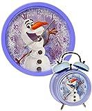 alles-meine.de GmbH 2 TLG. Set _ Wanduhr & Wecker -  Disney die Eiskönigin - Frozen / Schneemann Olaf  - 25 cm groß - sehr leise ! - Uhr - Analog - Kinderwecker - Wohnzimmer &