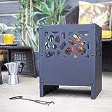 Großes Feuerschalen-Set: Fora, inkl. Handwerkzeug (Holz oder Kohle, Korb für Holzscheite, Gartenheizung, Terrassenofen, Holzkamin hoch)