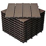 ECD Germany WPC Terrassenfliesen 30x30 cm 11er Spar Set für 1m² Dunkelbraun in Holzoptik für Garten Balkon Bodenbelag mit Drainage, Klicksystem Terrassendielen Balkonfliesen Klickfliesen H