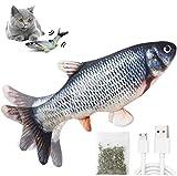 HonLena Katzenspielzeug Elektrisch Fischs,interaktives zappelnder Fisch Spielzeug für Katzen USB Elektrische Plüsch Fisch Spielzeug Fisch mit Katzenminze für Katze zu Spielen,Beißen,Kauen und T