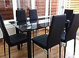 KOSY KOALA Wunderschönes Esstisch-Set aus Glas und 6 Stühlen aus Kunstleder (schwarzer Tisch und 6 Stühle)