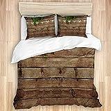 CANCAKA Bettwäsche-Set, grüne Blätter auf Holz, Mikrofaser, 200 x 200 cm, mit 2 Kissenbezügen 50 x 80 cm, Doppelbettgröße