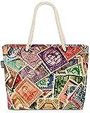 VOID Briefmarken Post Sammlung Strandtasche Shopper 58x38x16cm 23L XXL Einkaufstasche Tasche Reisetasche Beach Bag