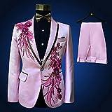 ZLDGYG ZMMDD DREI Teile Set Anzüge Herrensänger erbringen Bühnenshow Pailletten bestickte Blumen-Hochzeitsanzug (Color : Pink, Size : Size S)