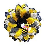 33cm Osterkranz, Blütenkranz, Türkranz, Dekokranz, Natur, Kranz, Ostereier, Biene Kranz, Home Türkranz Bienen und Stiefmütterchen gelb,Bienenfest Partydekoration (gleb, 33*33)