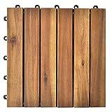 BIGTO Terrassenfliesen Massiv Akazie Holz Fallschutz Fliesen Holzmatte Bodenbelag 30x30cm (Braun, 20 Stück)