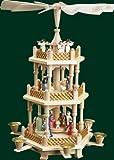 Weihnachtspyramide Tischpyramide Erzgebirge Richard Glässer Seiffen Seiffen 2-stöckig Christi Geburt bunt, 16720