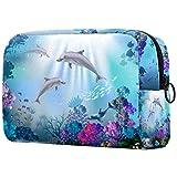 Reise-Make-up-Tasche Große Kosmetiktasche,Dolphin Fish Coral Blue Unterwasser Aquarell Muster ,Make-up-Tasche Organizer für Frauen und Mädchen