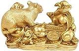 L.TSN Chinesische Feng Shui Dekor Figur Handwerk Handwerk Pure Zodiac Rat Family Statuen Home Decoration für Zuhause und Büro Reichtum und viel Glück Skulptur 324