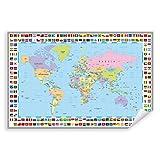 Postereck - 0609 - Politische Weltkarte, Flaggen Länder Kontinente - Unterricht Klassenzimmer Schule Wandposter Fotoposter Bilder Wandbild Wandbilder - Poster - DIN A4-21,0 cm x 29,7 cm