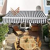 wolketon Gelenkarmmarkise Easy Balkonmarkise Sonnenschutz Terrasse, Kurbelbedienung, für Balkon und Veranda, Anti-UV und wasserfest, 3,5 x 3 m, Weiß/Grau G