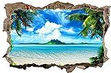 Strand Meer Palmen Paradies Wandtattoo Wandsticker Wandaufkleber D0312 Größe 100 cm x 150 cm