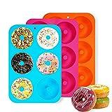 3 stücks Silikon Donutform Donut Backform,Donuts backform,Donut maker,6 Hohlraum Antihaft-Safe Backblech Maker Pan für Kuchen, Keks, Bagels, Muffins.