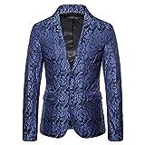 Einreihiger Blazer für Herren, Paisleymuster, Jacquard-Blazer, für formelle Anlässe, Abschlussball, Club, Party Gr. XX-Large, marineblau