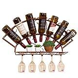 CESULIS Weinhalter Weinregal aus Metall Wandweinregal Hauptdekoration Wein Display-Ständer sicher und stabil Wein-Halter 7 Flaschen Weinanzeig